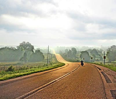 Misty Morning Ride Arkansas Poster