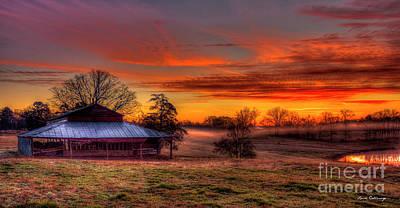 Misty Morning Sunrise Walker Church Road Poster by Reid Callaway
