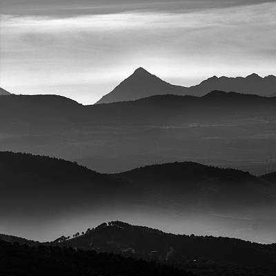Misty Mountains Bw Poster by Guido Montanes Castillo
