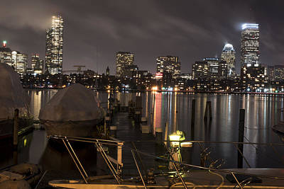Misty Night On The Charles River Boston Ma Boat Poster by Toby McGuire