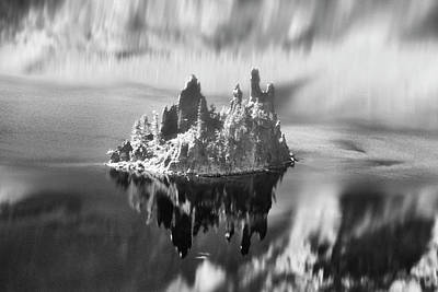 Poster featuring the photograph Misty Phantom Ship Island Crater Lake B W  by Frank Wilson