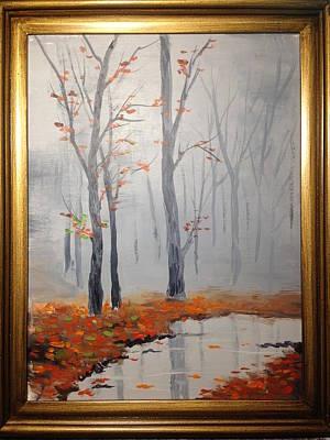 Misty Stream In Autumn Poster