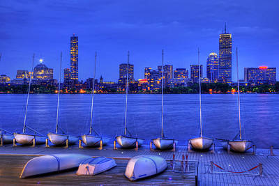 Mit Sailing Pavilion And The Boston Skyline At Night Poster by Joann Vitali