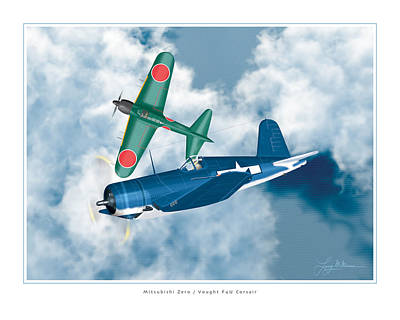 Mitsubishi Zero And Vought F4-u Corsair Poster by Larry McManus