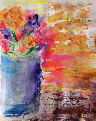 Poster featuring the mixed media Mixed Bouquet by Lisa McKinney