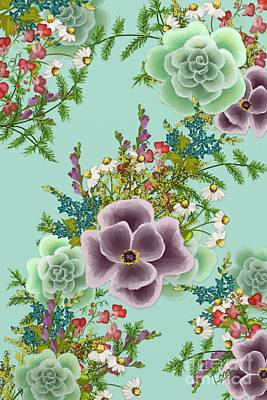 Mixed Floral On Light Blue Poster