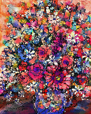 Mixed Flowers Poster by Natalie Holland