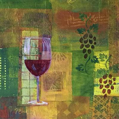 Mixed Media Painting Wine Poster