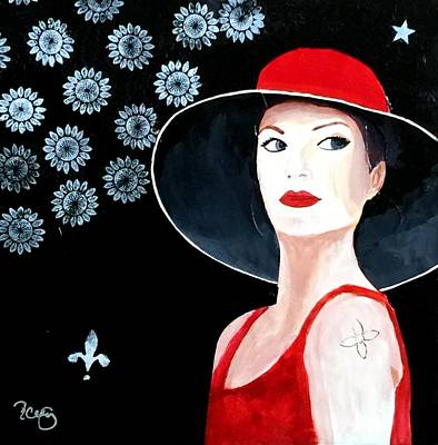 Mixed Media Painting Woman Red Hat Poster