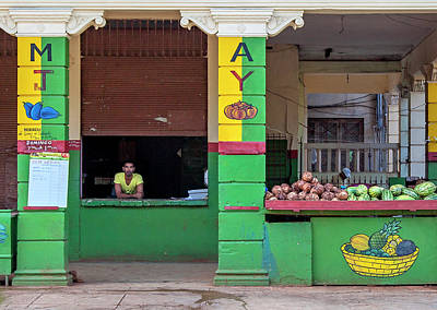 Poster featuring the photograph Mjay Fruit Stand Havana Cuba by Charles Harden