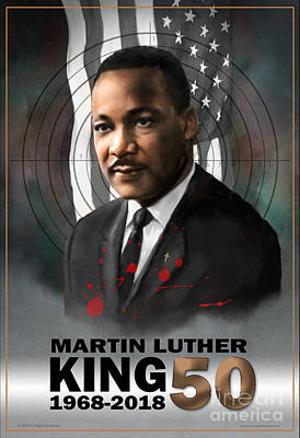 Poster featuring the digital art Mlk50 by Dwayne Glapion