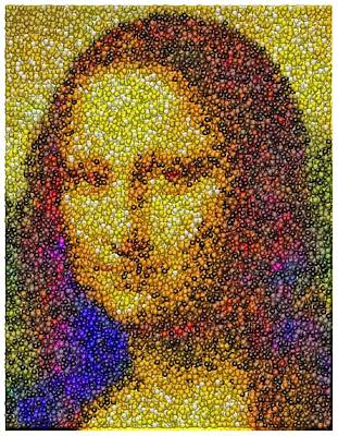 Poster featuring the mixed media Mm Candies Mona Lisa by Paul Van Scott