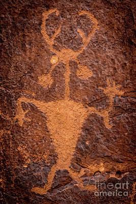 Moab Man Petroglyph Portrait - Utah Poster by Gary Whitton