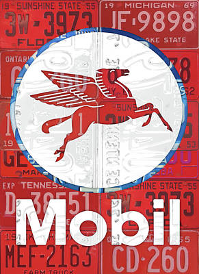 Mobil Oil Gas Station Vintage Sign Recycled License Plate Art Poster by Design Turnpike