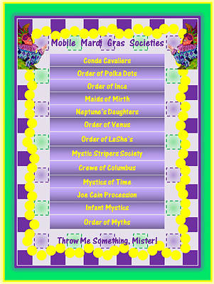 Mobile Mardi Gras Societies Poster by Marian Bell