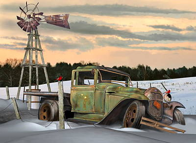 Poster featuring the digital art Model A Flatbed by Stuart Swartz