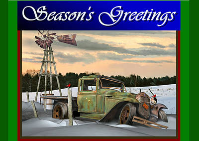 Poster featuring the digital art Model A Season's Greetings by Stuart Swartz