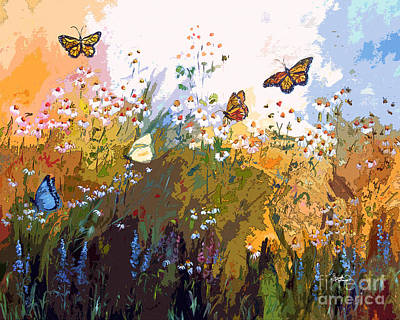 Modern Chamomille And Butterflies Poster by Ginette Callaway