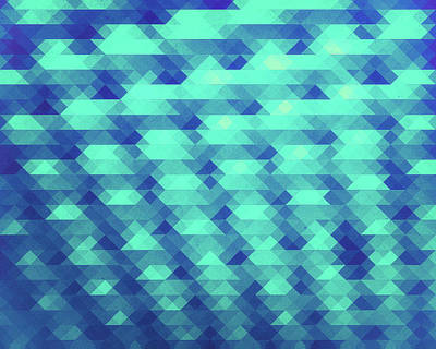Modern Fashion Abstract Color Pattern In Blue   Green Poster