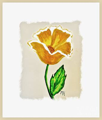 Poster featuring the painting Modern Gold Flower by Marsha Heiken