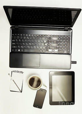 Modern Office Desk Details Poster by Jorgo Photography - Wall Art Gallery
