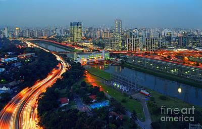 Modern Sao Paulo Skyline - Cidade Jardim And Marginal Pinheiros Poster by Carlos Alkmin