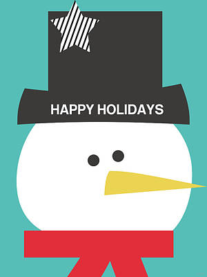 Modern Snowman Happy Holidays- Art By Linda Woods Poster