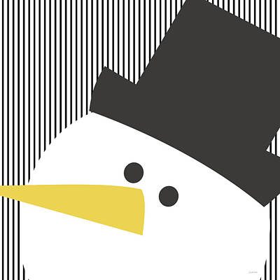 Modern Snowman On Stripes- Art By Linda Woods Poster by Linda Woods