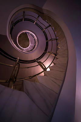 Modern Staircase In Violet And Golden Tones Poster