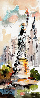 Poster featuring the painting Modern Statue Of Liberty New York Watercolor by Ginette Callaway