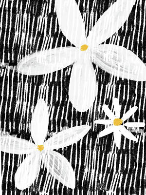 Modern White Flowers- Art By Linda Woods Poster