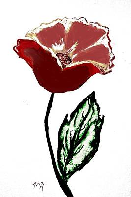 Poster featuring the drawing Modernized Flower by Marsha Heiken