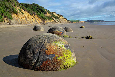 Poster featuring the photograph Moeraki Boulders by Cheryl Strahl