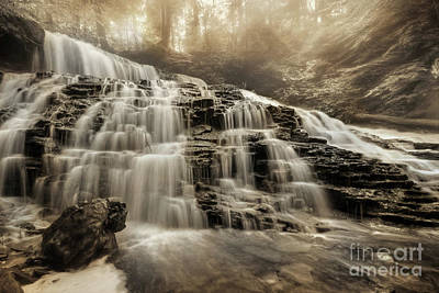 Mohawk Falls In Sepia Poster by Lori Deiter