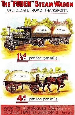 The Foden Steam Wagon Sandbach England Circa 1910 Poster