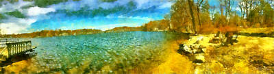 Poster featuring the painting Mohegan Lake Panoramic Beach by Derek Gedney