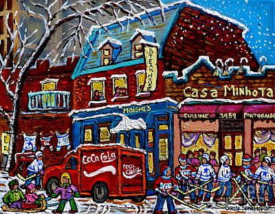 Moishe's On The Main Montreal Memories Street Hockey Art Snowy Canadian Winter Painting C Spandau Poster by Carole Spandau