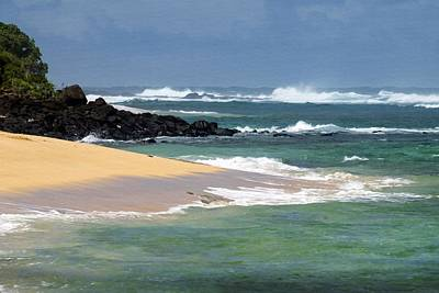 Moloa'a Beach With Giant Waves Poster by Frank Wilson