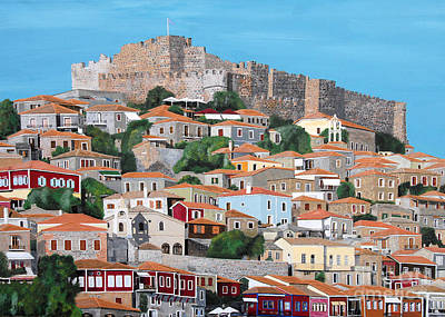 Molyvos Lesvos Greece Poster by Eric Kempson