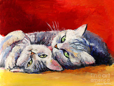 Mom And Kitten Cat Painting Poster