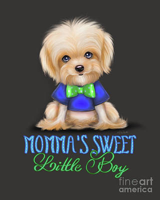 Poster featuring the painting Mommas Sweet Little Boy by Catia Lee