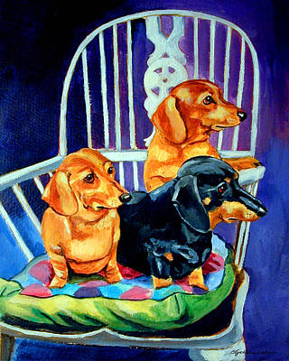 Mom's In The Kitchen - Dachshund Poster by Lyn Cook