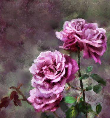 Poster featuring the digital art Moms Roses by Susan Kinney