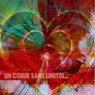 Poster featuring the digital art Mon Coeur - My Heart by Fania Simon