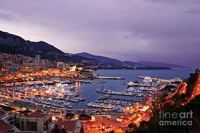 Monaco Harbor At Night Poster by Matt Tilghman