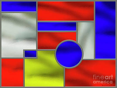Mondrian Influenced Stained Glass Panel No1 - Amcg20160722 Poster by Michael Geraghty