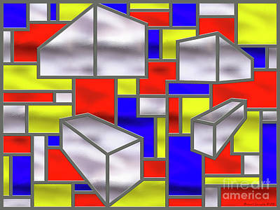 Mondrian Influenced Stained Glass Panel No2 - Amcg20160722 Poster by Michael Geraghty