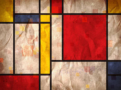Mondrian Inspired Poster by Michael Tompsett