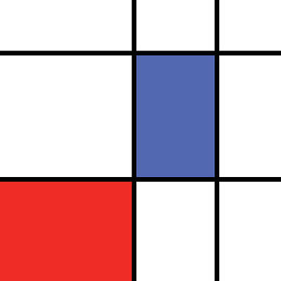 Mondrian Style Minimalist Pattern In Blue And Red Poster by Studio Grafiikka