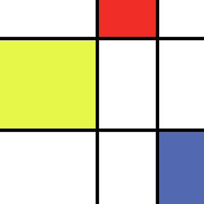 Mondrian Style Minimalist Pattern In Blue, Red And Yellow 01 Poster